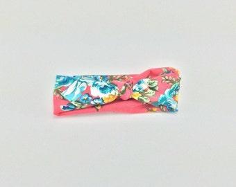Pink floral newborn headband