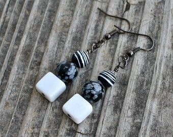 Black & White Stone Striped Spotted Gunmetal Earrings