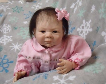 SALE Reborn baby, Paisley on sale  (already made)adorable little girl looking forever Mom and  hugs dk brown eyes , dk brown hair