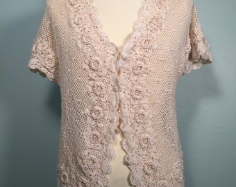 Vintage white lace crocheget flower short sleeved cardigan S