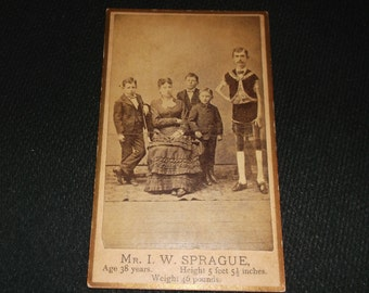 Eisenmann CDV of Barnum circus sideshow freak, Isaac Sprague, The Living Skeleton.