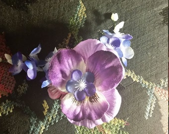 Small Purple Pansy Hair Clip