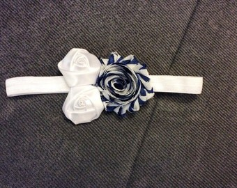 Rebecca Headband, Navy and White Headband, attached to a White elastic, baby accessory, baby bow