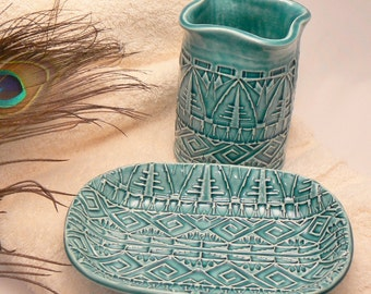 Ceramic Bathroom Set with Toothbrush Holder and Soap Dish in Teal