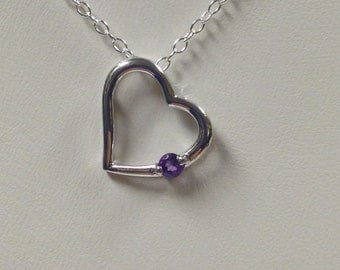 Heart Necklace with Natural Amethyst 925 Sterling Silver