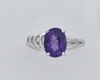 Natural Amethyst Ring Sterling Silver