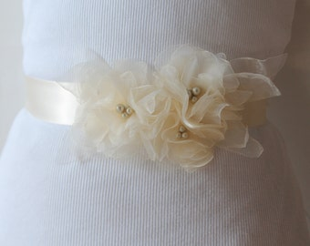 Wedding Sash, Bridal Flower Sash, Bridal Belt, Wedding Flower Belt, Wedding Accessories