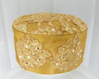 Vintage Gold Satin Hat With Embroidery, Netting, Sequins And Beads