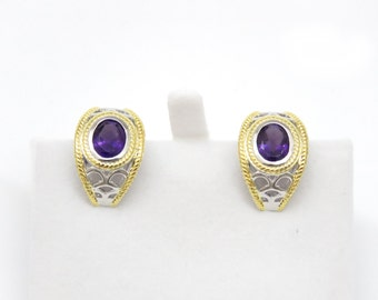 TAME-6261F Purple Amethyst French-Backing Sterling Silver Earrings with 14K Gold Accents