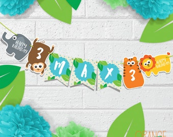 SAFARI JUNGLE Personalised Children's Birthday Party Banner Bunting * Monkey * Tiger * Elephant * Lion