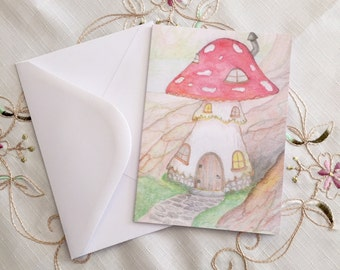 Toadstool House Fairy Doodle Greeting Card