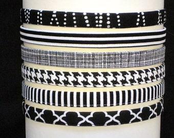 Adjustable Headband Skinny Black Headband Fabric Hairband Comfortable Thin Fitness Headband for women and girls- best selling items