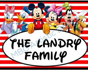 Stroller Tag - Custom, Personalized, Disney Mickey Mouse & Pals Vacation Tag for your stroller