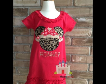 Minnie Mouse Silhouette with a Safari Hat and Bow on a Red Dress. Inspired by Minnie Mouse, Animal Kingdom and Disney.