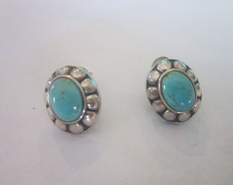 Vintage Sterling Silver and Real Turquoise Pierced Stud Earrings - Beautiful!