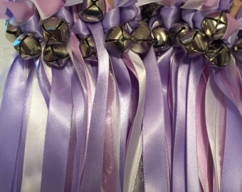 50 Wedding Wands/Wedding Ribbon Wands/Wedding Wand/Wedding Streamers - Iris, Orchid, and Silver