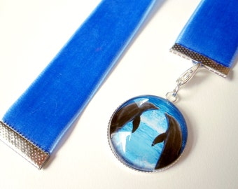 Cornflower BlueVelvet Ribbon Bookmark w/Dolphin Cabochon 2