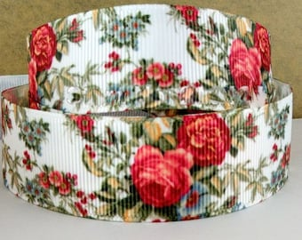 1'' -  25 mm Floral Grosgrain Ribbon