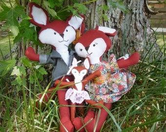 woodland fox family