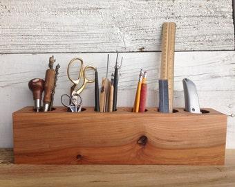 Desk Caddy Organizer from Reclaimed Elm Wood