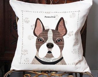 Frenchie personalised dog cushion cover