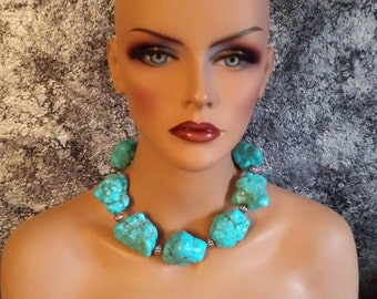 Big Bold Chunky Turquoise Magnesite Statement Necklace Southwestern Necklace KATROX WOW FACTOR Huge Nugget Necklace Wilma Flintstone Blue