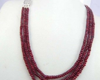 on sale 3 lines necklace Smooth Rondelle natural Ruby Beads 3 to 5mm Strands Ruby Plain Rondelle beads- Strings 21 inches-Jewelry Making Cra
