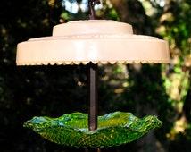 Bird feeder - glass garden art - garden glass bird feeder