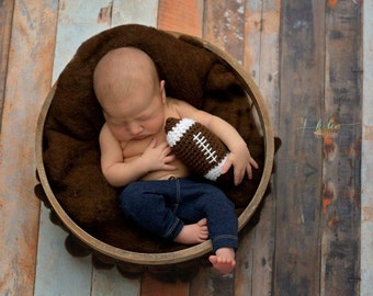 Handmade Stuffed Football, Amigurumi Football Prop, Newborn Sports Photo Prop, Crochet Football