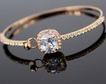 Rose Gold Bracelet Rose Gold Bridal Jewelry Rose Gold Cushion Cut Diamond Rose Gold Cubic Zirconia Diamond Bridesmaid Jewelry