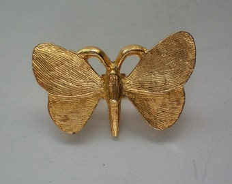 Solid Gold tone Metal Butterfly Pin - 4556