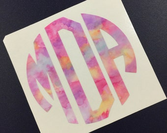 Watercolor Monogram Decal Sticker   Yeti Monogram   Yeti Sticker