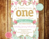 Shabby Chic First Birthday Party Invitation, Gold Glitter Birthday Invitation, Pink and Mint, One, First Birthday, Burlap, Any Age