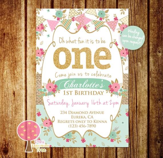 Shabby Chic First Birthday Party Invitation Gold Glitter Birthday