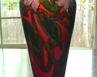 "Large 13"" Vintage John Fields, Fields & Fileds Fuchsia, Orange Purple Bearded IRIS Cased Art Glass Vase 1997"