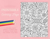 Printable Coloring Page – floral, flowers, mushrooms, fruit, coloring, adult coloring