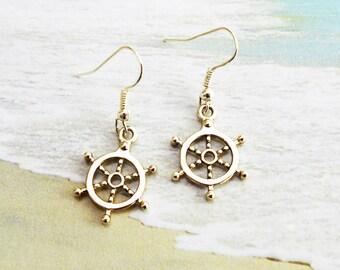 SHIP HELM EARRINGS - ship wheel earrings - surgical stainless steel ear wires - hypoallergenic, sensitive ears earring wires