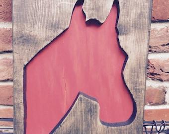 Horse head reclaimed wood wall art