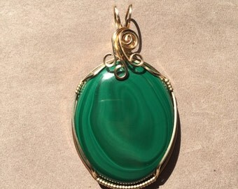 Malachite 14K Gold Filled Wire Wrapped Pendant, Malachite Jewelry, Wrapped Malachite