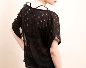 See-through black top , Sheer black blouse , See through shirt , Women short sleeve shirt , Loose fit top , Oversized shirt