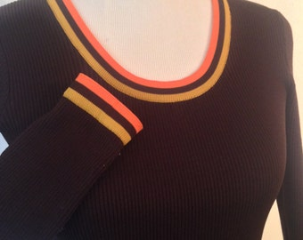 1970s brown, orange & yellow dress by Dorthé Originals