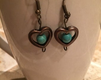 Handmade copper heart turquoise earrings, heart earrings