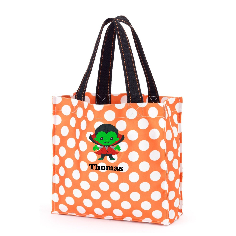 0c81728447 Personalized trick or treat bag - Dracula - Orange polka dot Halloween tote  Bag - Tote