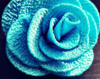 Gorgeous Elegant Blue Rose Hair Clip Accessory Jewelry