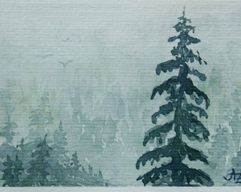 Original Watercolor Painting Misty Forest - 4x6""