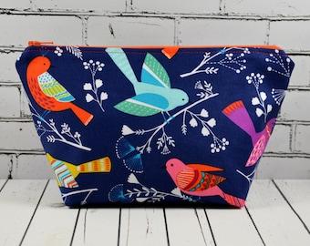 Bright Birds Cosmetics Bag, Zipper Pouch, Bird Makeup Bag, Bird Make Up Bag