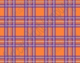 Orange and purple tartan plaid craft  vinyl sheet - HTV or Adhesive Vinyl -  HTV1819
