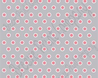 Gray with pink and white polka dots craft  vinyl sheet - HTV or Adhesive Vinyl -  polka dot pattern HTV262