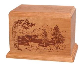 Cherry Whitetail Deer Wood Cremation Urn