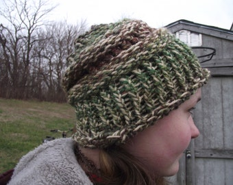 Camo and Tan knitted hat